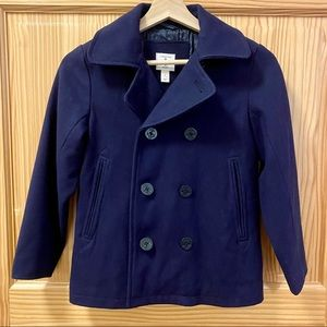 Lands End button navy blue wool pea coat jacket S